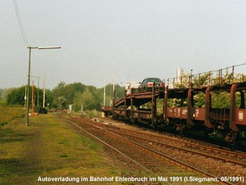 Autoverladung im Bahnhof Ehlenbruch