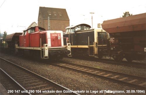 Diesellok der Baureihe 290 bei Rangierarbeiten in Lage