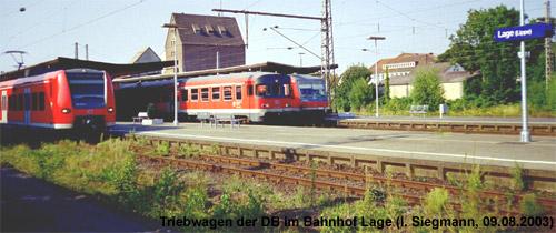 Triebwagen der Baureihen 425, 624 und 628 im August 2003 in Lage