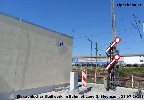 Neues elektronisches Stellwerk Lzf im Bahnhof Lage am 21.07.2013