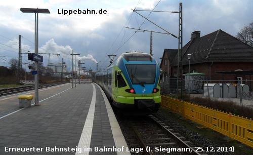 Neuer Bahnsteig mit Westfalenbahn in Lage